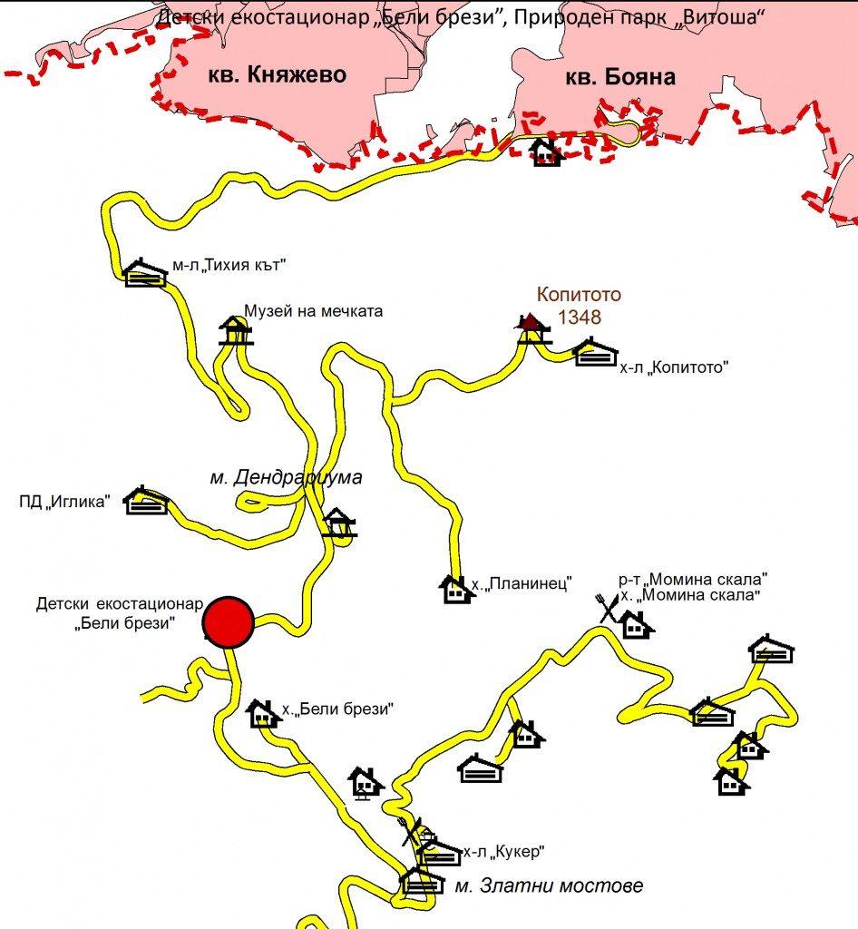 Местоположение на Детски екостационар Бели брези